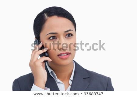 Közelkép elarusítónő telefon párbeszéd fehér üzlet Stock fotó © wavebreak_media