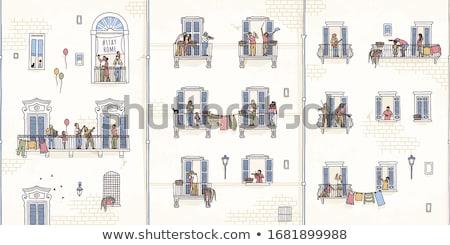 Erkély fal padló építészet függöny tapéta Stock fotó © zzve