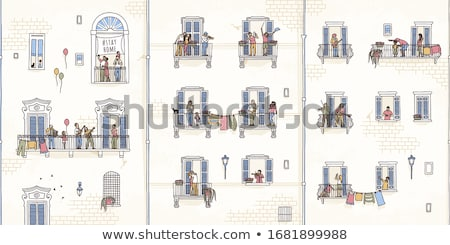 балкона стены полу архитектура занавес обои Сток-фото © zzve