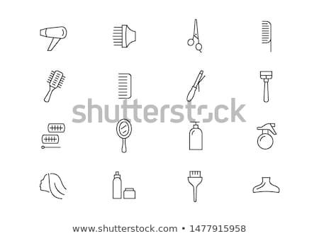 Vettore icona forbici pettine Foto d'archivio © zzve