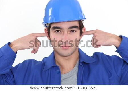 portrait · frustré · homme · oreilles · mur · de · briques · mode · de · vie - photo stock © photography33