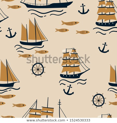 Seamless pattern of hand wheels and waves Stock photo © elenapro