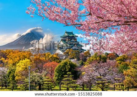 Сток-фото: Осака · замок · Япония · дерево · здании · пейзаж