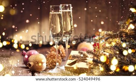 şampanya · yeni · yıl · süslemeleri · iki · tok - stok fotoğraf © neirfy