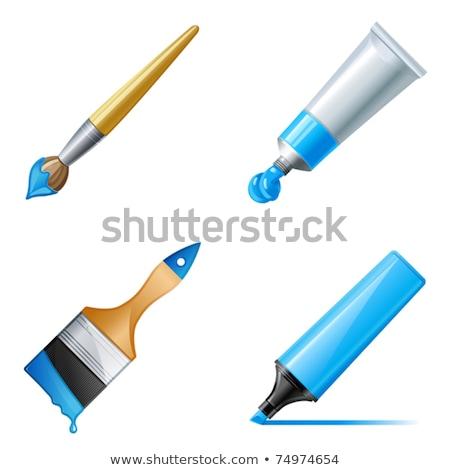 Pędzlem niebieski wektora ikona przycisk internetowych Zdjęcia stock © rizwanali3d