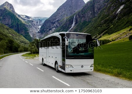ônibus · gelo · estrada · nevasca · branco · inverno - foto stock © ssuaphoto