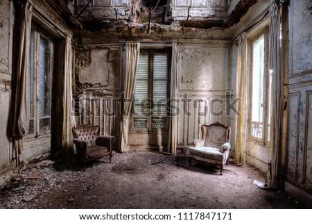 abandonné · maison · architecture · bâtiment · salle · vide · colonne - photo stock © alexandre_zveiger