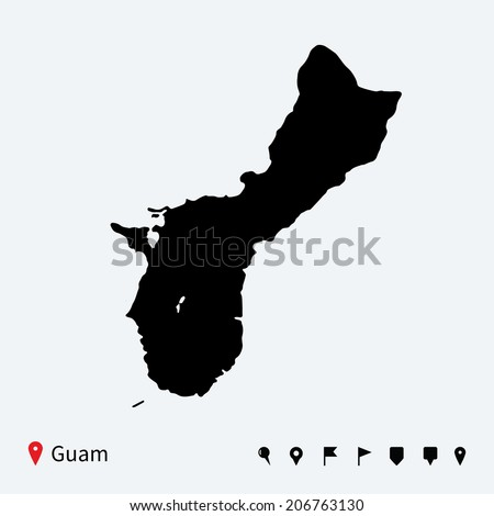high detailed vector map of guam with navigation pins stock photo © tkacchuk