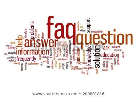 Preguntas frecuentes nube de palabras imagen prestados utilizado Foto stock © tang90246