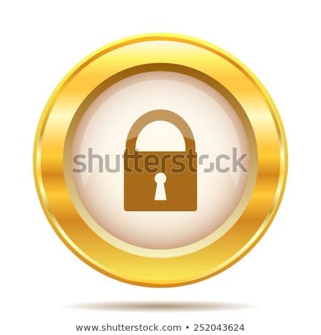 Arany vektor ikon terv szolgáltatás zár Stock fotó © rizwanali3d