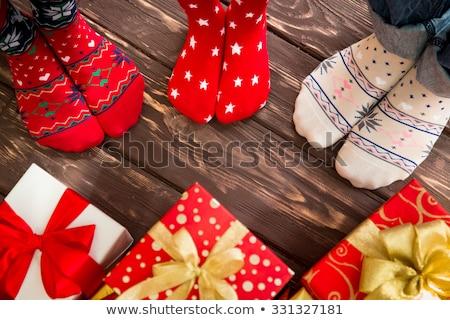 christmas decoration on wood floor stock photo © teerawit