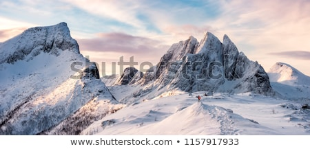 Turist kış dağlar manzara sis adam Stok fotoğraf © Kotenko