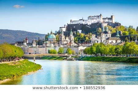 folyó · óváros · hazugság · zöld · dombok · Ausztria - stock fotó © meinzahn