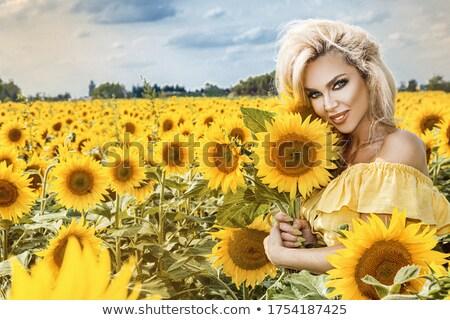 Stok fotoğraf: Güzel · bir · kadın · ayçiçeği · gün · batımı · sanat · portre · kadın