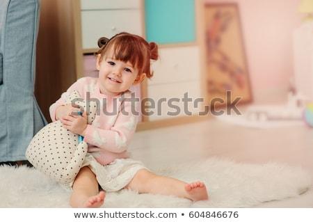dois · anos · menina · alegre · para · cima - foto stock © sapegina