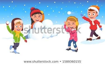 Lány tél ruházat dob hógolyó gyerekek Stock fotó © vectorikart