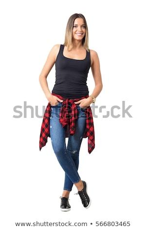 Fiatal nő kockás kockás fiatal szőke nő kanapé Stock fotó © user_9834712