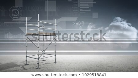 Stock photo: Sky landscape with technology interface and 3D Scaffolding