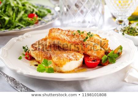 Balık fileto sos restoran akşam yemeği limon Stok fotoğraf © M-studio