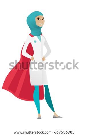 Muszlim orvos visel piros szuperhős köpeny Stock fotó © RAStudio