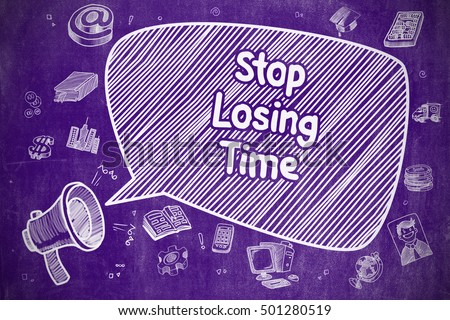 Pare tempo rabisco ilustração roxo quadro-negro Foto stock © tashatuvango