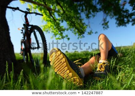 esportes · bicicleta · mulher · relaxante · prado · belo - foto stock © pilgrimego