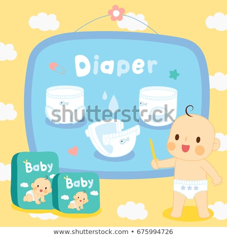 cute boy in diapers with water bottle Stock photo © Traimak