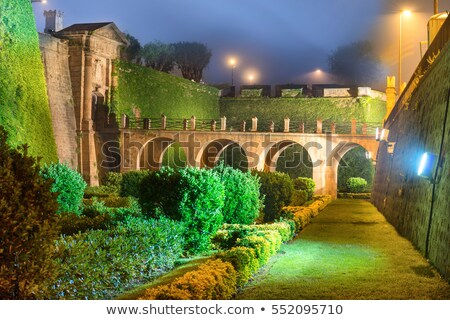 night view of castillo de montjuic stock photo © vapi