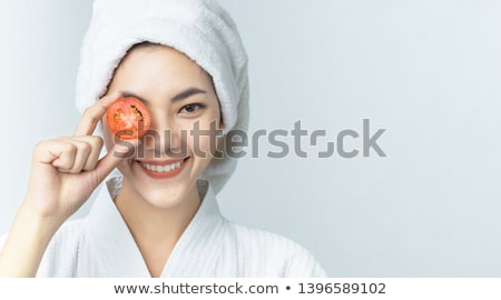 девушки помидоров продовольствие портрет улыбаясь свежие Сток-фото © IS2