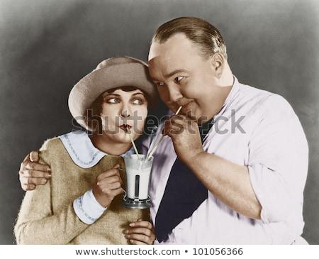Vrouw man drinken glimlachend Stockfoto © IS2