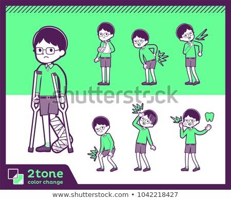 2tone type Green clothing glasses boy_set 08 Stock photo © toyotoyo