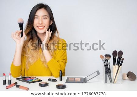 Smink folyamat sminkmester jelentkezik szemöldökceruza nő Stock fotó © MilanMarkovic78