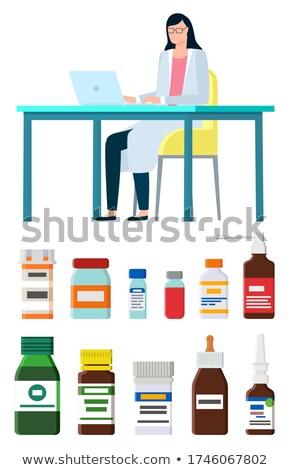 Inhaler Glass Bottle Closeup Vector Illustration Stock photo © robuart