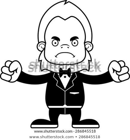 Foto stock: Cartoon · enojado · novio · mirando · traje · matrimonio