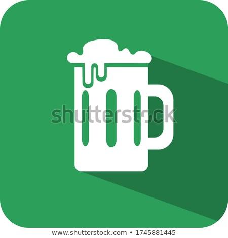 üveg · bögre · festett · zöld · sör · rusztikus - stock fotó © alex9500