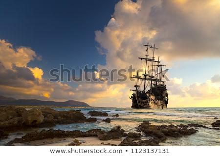 Foto stock: Pirata · armado · árvore · palma · caixa · verde