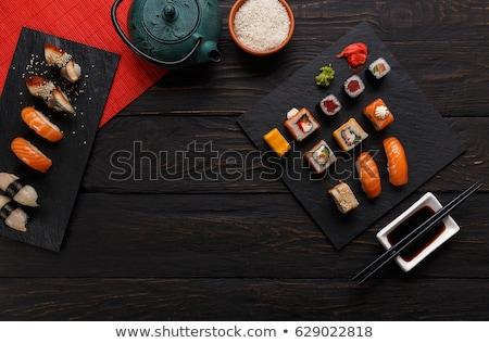 Különböző tea teáskanna szusi evőpálcikák japán étel Stock fotó © karandaev