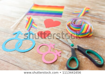 scissors and gay party props on wooden boards Stock photo © dolgachov