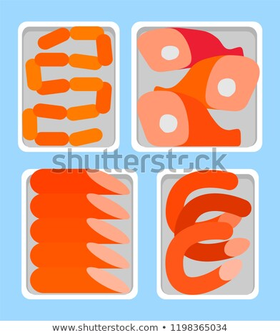 Sausages  and Smoked Bangers Shelves Butcher Vector Stock photo © robuart