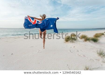 Jump for Joy Australian Fan Australia Day celebrations Stock photo © lovleah