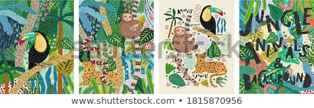 Tigris erdő illusztráció boldog természet terv Stock fotó © bluering