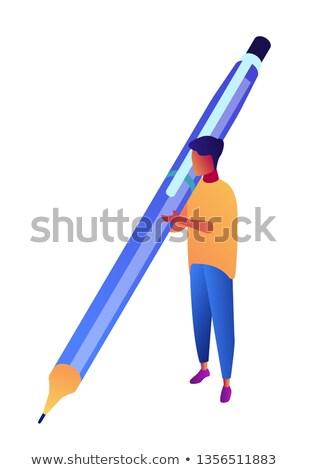 Businessman holding big pen and writing isometric 3D illustration. Stock photo © RAStudio