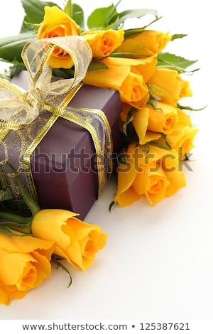 Citromsárga rózsák lila ajándék doboz fehér virág Stock fotó © Melnyk