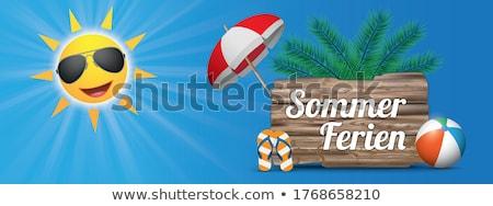 青空 太陽 木材 サンシェード 手のひら バナー ストックフォト © limbi007