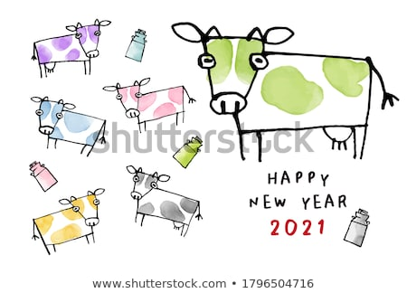 cartoon watercolor hand drawn doodles new year card design stock photo © balabolka