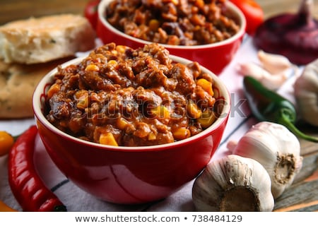Bowl of chili con carne with the ingredients Stock photo © Alex9500