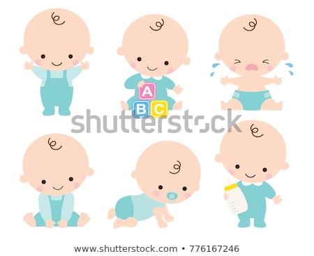 Kruipen baby jongen luier foto witte Stockfoto © dolgachov