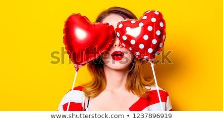 retrato · sorprendido · funny · nina · de · punto · sombrero - foto stock © massonforstock
