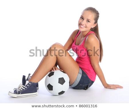 Rózsaszín haj lány futballabda kép futball Stock fotó © dolgachov
