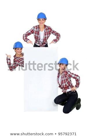 монтаж счастливым белый знак сообщение бизнеса Сток-фото © photography33
